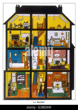 A cross-section of a family  house showing members of the  household about their various  tasks in the kitchen, - Stock Photo