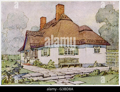 Projection Drawing Showing The Design For A Bungalow At Esher Seen From Garden Date