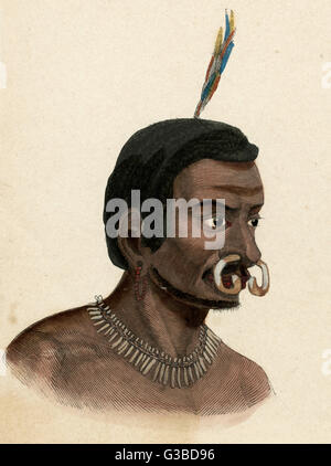 Man of New Guinea with a curved bone through his nose.       Date: circa 1870 - Stock Photo