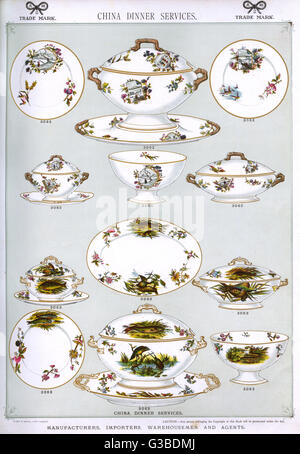 Various china dinner services, Plate 11, showing patterned plates, tureens, covered serving dishes and bowls.   - Stock Photo