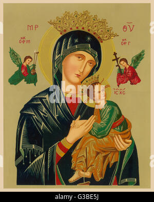 Mary and Jesus, with attendant  angels, as depicted in a  Russian icon.       Date: 19th century - Stock Photo
