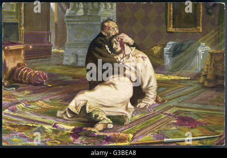 Ivan IV Vasilyevich, known as 'The Terrible', clasps the  bloody head of his son Ivan,  whom he murdered in a fit - Stock Photo