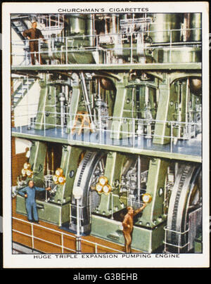 Kempton Park, Surrey : the  triple expansion pumping  engine in the waterworks.   Note the size of the men - Stock Photo