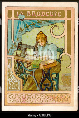 La brodeuse - SEMPSTRESS -  works at her sewing machine.        Date: circa 1900 - Stock Photo