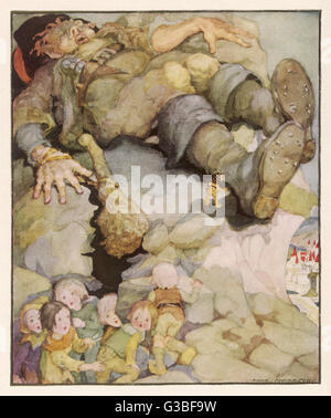 Hop o'my thumb and the  sleeping giant's boots - Stock Photo