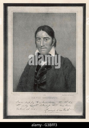 DAVY CROCKETT American backwoodsman, hunter,  magistrate and legislator who  became a revered figure in the US political - Stock Photo