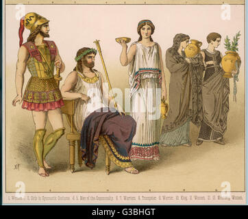 Various Ancient Greek  costumes; left to right - a warrior, a King, a woman and  two mourning women.       Date: - Stock Photo