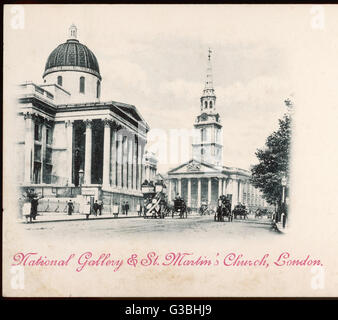 Horse-cabs and buses trot past  the National Gallery in  Trafalgar Square, London, with  St Martin's church in the - Stock Photo