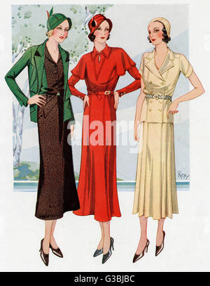 Three women wearing smart frocks, first is a 'Dorville' model in brown and green tweed, the sides of the bodies - Stock Photo