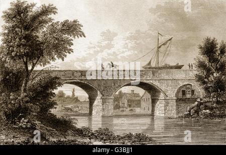 The Bridgewater Canal aqueduct at Barton, Lancashire, England, 19th century - Stock Photo