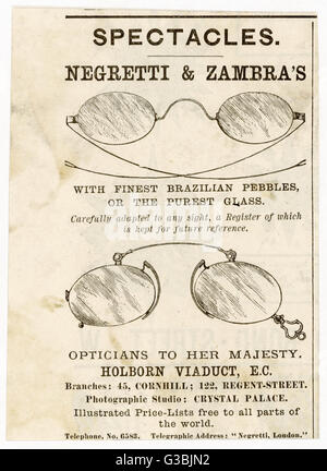 Negretti & Zambra's  spectacles, made with finest  Brazilian pebbles or the  purest glass, carefully  adapted - Stock Photo