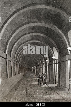 the Thames Tunnel, an underwater tunnel beneath the River Thames in London, 19th century - Stock Photo