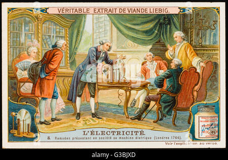 Jesse Ramsden of London  demonstrates his improvement  on Guericke's electric  machine, replacing the sphere  by - Stock Photo