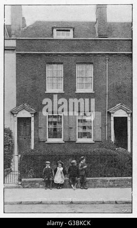 HIS BIRTHPLACE at 387 Mile End  Terrace, Commercial Road,  Landport, Portsmouth, where  Charles Dickens was born - Stock Photo