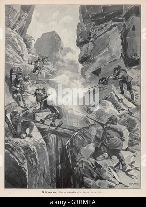 A band of smugglers, who have  ingeniously created a route  for themselves through the  mountains, are ambushed - Stock Photo