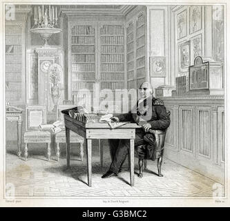 LOUIS XVIII OF FRANCE depicted at his desk.         Date: 1755 - 1824 - Stock Photo