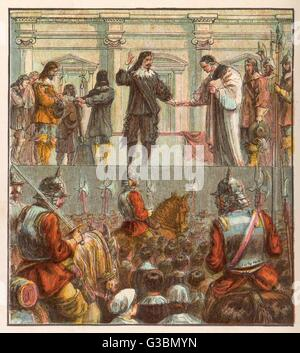 King Charles I prepares for  his execution on the scaffold  in front of the palace of  Whitehall       Date: 30 - Stock Photo