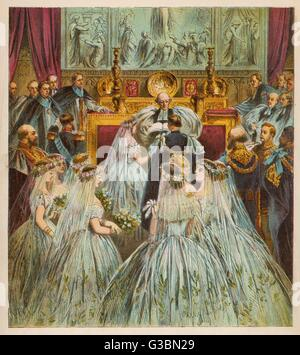 Marriage of the Prince of  Wales (later Edward VII) and  Alexandra at St George's  Chapel, Windsor       Date: 1863 - Stock Photo
