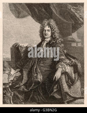 CHARLES RENE D'HOZIER French genealogist of the  king's household, comptroller  of the arms and heraldry of  France. - Stock Photo