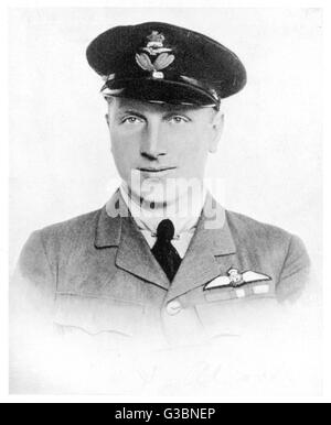 Captain in the Royal Air  Force, he was the pilot of the first direct  transatlantic flight in  June 1919 with navigator - Stock Photo