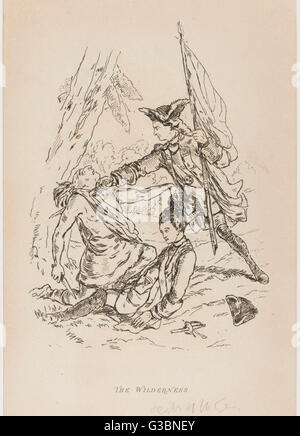 THE WILDERNESS  Scene from 'The Virginians'  A soldier is rescued just in  time by the flagman during the  American - Stock Photo