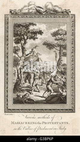 'Various methods of massacring  the Protestants, in the  Vallies of Piedmont in Italy  in the 18th Century'.    - Stock Photo