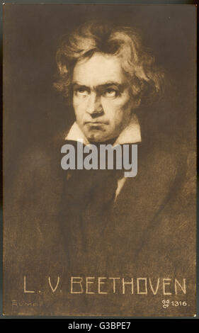 LUDWIG VAN BEETHOVEN German composer  Portrait       Date: 1770 - 1827 - Stock Photo