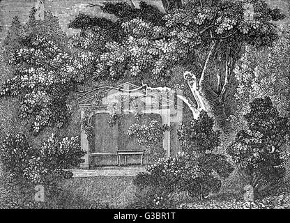 The arbour or alcove in the  garden of the cottage in Kew  (or Kew-foot) Lane, near  Richmond, Surrey, where the - Stock Photo
