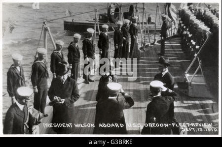 Scene on the deck of USS Oregon (BB3), American battleship, with President Wilson on board.  The occasion was a - Stock Photo