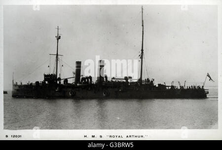 HMS Royal Arthur, British Edgar class protected cruiser.      Date: circa 1910 - Stock Photo