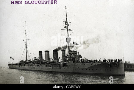 HMS Gloucester, British Town class light cruiser.     Date: circa 1910 - Stock Photo