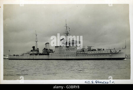 HMS Gloucester (62), British Town class light cruiser.      Date: circa 1938 - Stock Photo