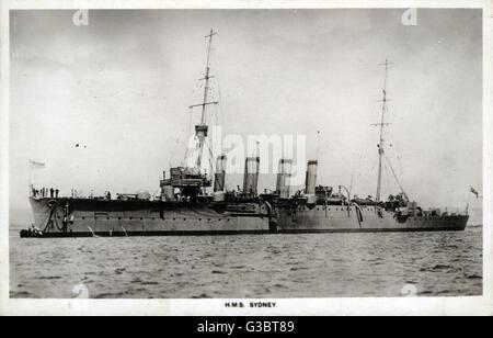 HMAS Sydney, Australian Chatham class light cruiser, launched in 1912.      Date: circa 1910s - Stock Photo