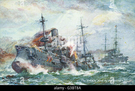 The German light cruiser SMS Emden attacked by HMAS Sydney on 9 November 1914, at the Battle of Cocos.      Date: - Stock Photo