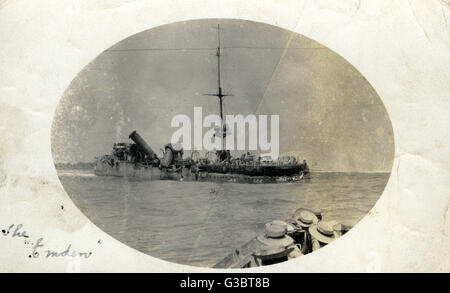 The German light cruiser SMS Emden after being attacked by HMAS Sydney on 9 November 1914, at the Battle of Cocos. - Stock Photo