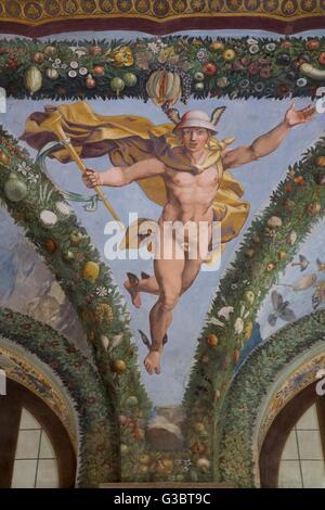 Mercury, 1517-1518, Loggia of Cupid and Psyche, Villa Farnesina, Rome, Italy, Europe - Stock Photo