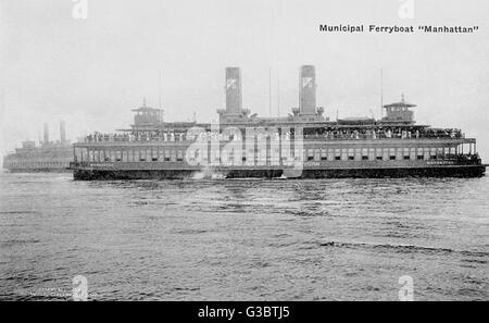Municipal ferry boat, the Manhattan, New York, USA.      Date: 20th century - Stock Photo