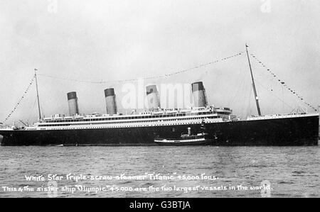 RMS Olympic, cruise ship of the White Star Line (incorrectly captioned as RMS Titanic on the picture itself).   - Stock Photo
