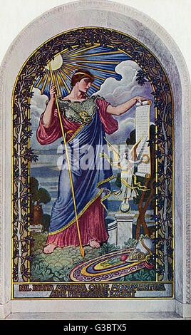 Washington DC, USA - Mosaic - 'The Minerva of Peace' by Elihu Vedder  (1836-1923). Found in the Library of Congress, - Stock Photo