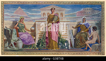 Washington DC, USA - Mural - 'The Mosaic Panels' by Frederick Dielman (1847-1935). Found in the Library of Congress, - Stock Photo
