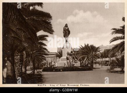 Malta - Floriana - King of Kings Monument     Date: circa 1920s - Stock Photo
