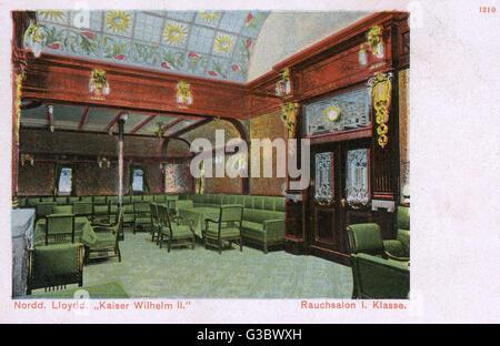Interior of the SS Kaiser Wilhelm II passenger steamer of Norddeutscher Lloyd (NDL) (North German Lloyd), a German - Stock Photo