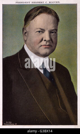 31st US President Herbert Clark Hoover (1874-1964). President between 1929  and 1933.     Date: circa 1929 - Stock Photo