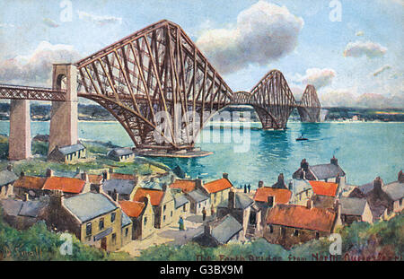 The Forth Rail Bridge - viewed from North Queensferry. The Bridge became a UNESCO World Heritage site in July 2015. - Stock Photo