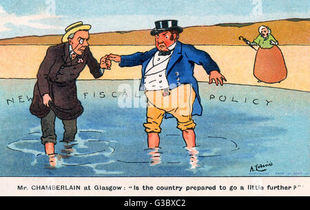 Joseph Chamberlain (1836-1914) leading John Bull (representing the British populace as a whole) inward into the - Stock Photo