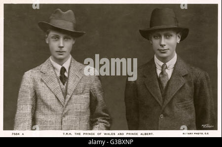 Edward, Prince of Wales (later King Edward VIII) (1894-1972) alongside his brother Prince Albert (later King George - Stock Photo