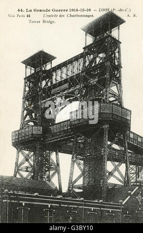 WW1, Loos 'Tower Bridge' - the name given to a pair of pithead gear towers here (also sometimes known as 'Crystal - Stock Photo
