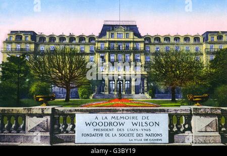 Palais des Nations, Geneva - Commemorative Plaque in memory of US President Woodrow Wilson (1856-1924).     Date: - Stock Photo