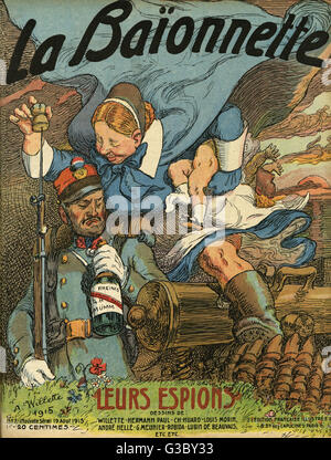 Front cover of La Baionnette, an issue focusing on enemy spies.  Showing a Germanic-looking woman with a baby under - Stock Photo