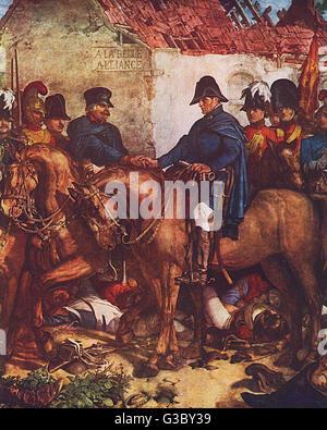 Field Marshal Arthur Wellesley, 1st Duke of Wellington (1769-1852) and Prussian Field Marshal Gebhard Leberecht - Stock Photo